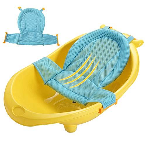 Baby Bath Support Seat, Newborn Shower Mesh for Bathtub,Foldable Baby Bath Tub Pads Infant Anti-Slip Soft Bathtub Pillow Bath Seat for Infant 0-3 Years (Blue)