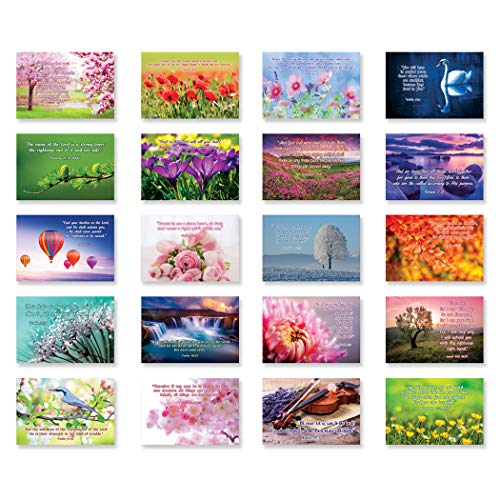 BIBLE QUOTES postcard set of 20 postcards. Christian inspirational Bible verses post card pack. Made in USA.