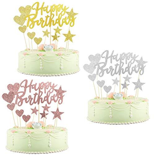 Sunshine smile Sterne Glitter Cake Topper, Cake Topper Happy Birthday, Kuchendekoration Geburtstag, Tortenaufsatz, Tortendeko, Tortenstecker Geburtstag, Kuchendeckel, Cupcake Topper(gemischte Farben)