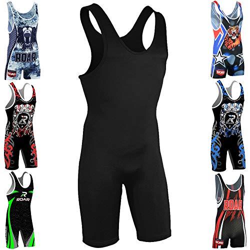 ROAR Athletic Men's Wrestling Singlet Suit Bodywear Uniform (Plain-Black, Small)