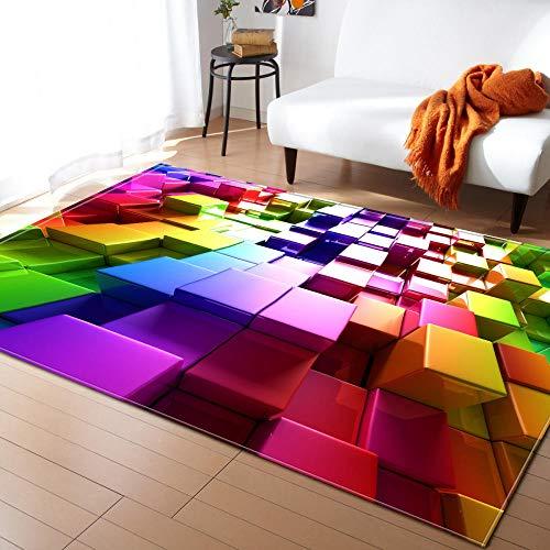 Qlldwxu Alfombras Modernas Abstractas Cuadrados Coloridos 3D Habitación Dormitorio Alfombra Grande Alfombra De Área para La Alfombra del Piso del Dormitorio1.2M*1.8M