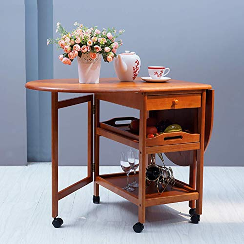 N/Z Home Equipment Practical Solid Wood Serving Wine Cart Rolling Double Folding Table Dining Car Kitchen Restaurant Cabinet Tea Bar Storage Trolley 2 Colors