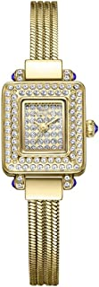 LZRDZSW Women Watch,Lady Analog Quartz Casual Business Dress Waterproof Watches with Fashion Copper Band,Square Dial with Rhinestones, Bracelet Watch Easy-to-wear Design