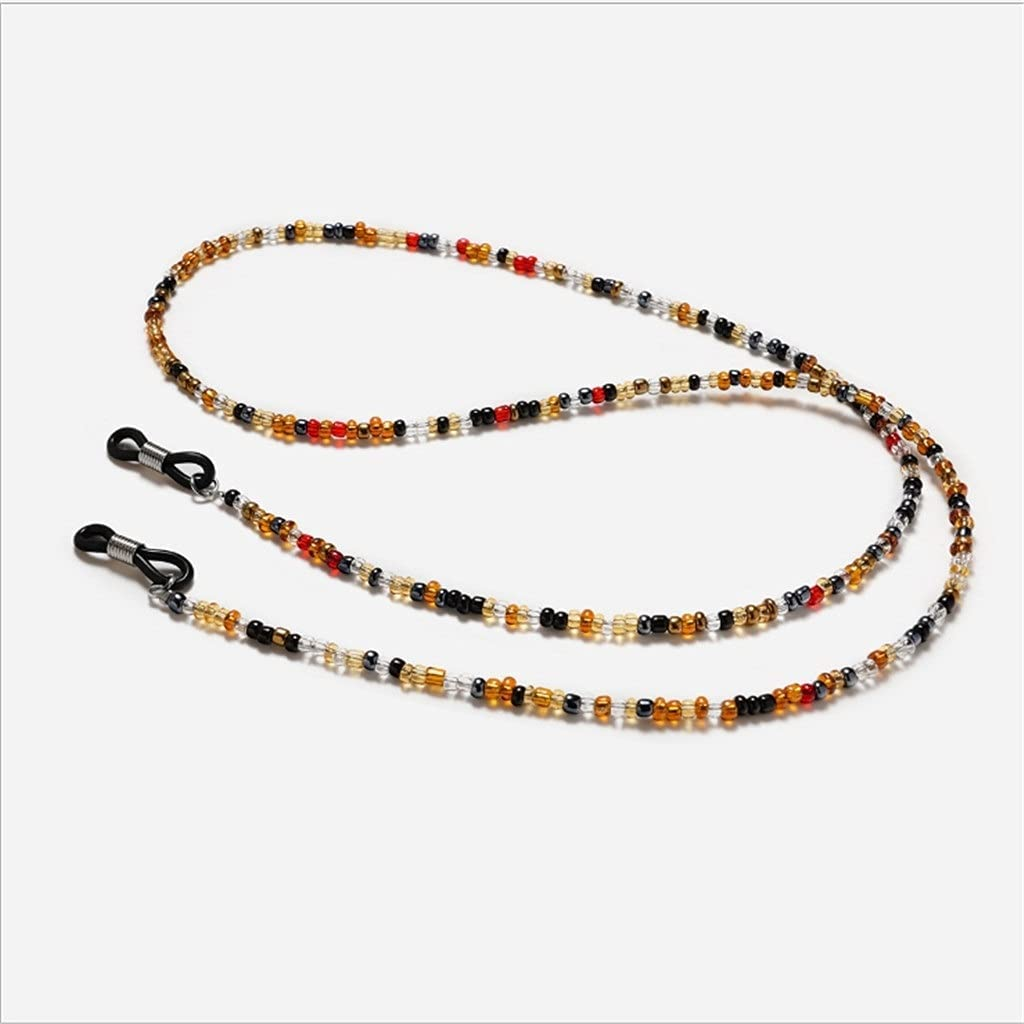 ZYKBB Bohemia Transparent Beads Reading Glasses Chain Lanyard Hold Straps Sunglasses Chain Fashion Cords Women Glasses Accessories (Color : C, Size : Length-70CM)