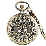 Reloj De Bolsillo con Cadena Reloj De Bolsillo Antiguo Colgante De Diseño Hueco Collar De Bronce Colgante De Moda para Hombre Regalos Felices para Papá Reloj B 80Cm