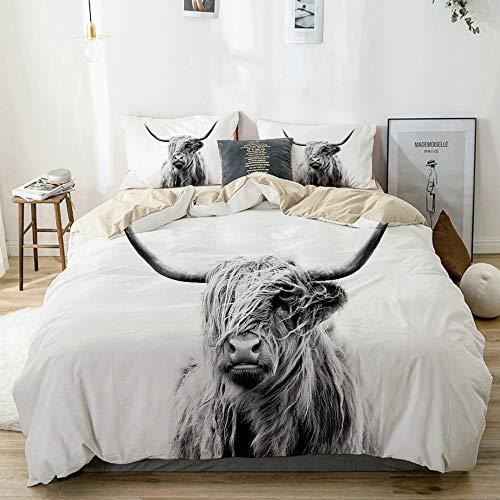 MAYBELOST Bedding Juego de Funda de Edredón,Beige,Vaca Buey Highland Vaca Highlander Animal Escocia Cuernos Escoceses Toro Ganado,Microfibra NO LLENAR,(Cama 140x200 + Almohada)