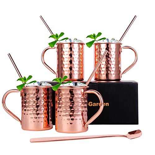 InnoStrive Moscow Mule Mugs Set of 4 Moscow Mule Cups 100% Food-Safe Pure Copper mugs With 4 Cocktail Copper Straws and 1 Stirring Spoon
