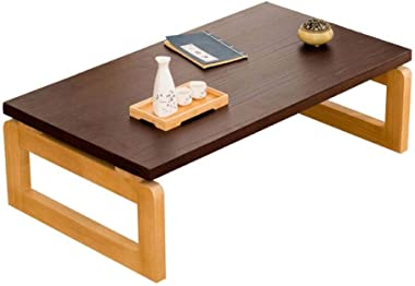 Tea Table Wooden Tatami Coffee Table Simple Small Table Balcony Window Table Simple Tea Table for Bed Tables (Color : Brown,