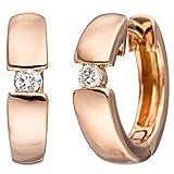 JOBO Creolen 585 Gold Rotgold 2 Diamanten Brillanten Ohrringe Rotgoldohrringe