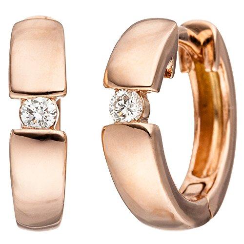 Jobo Pendientes de aro oro 585oro rojo 2diamantes brillantes pendientes rojo oro pendientes