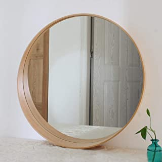 Qing MEI Crescent-Shaped Solid Wood Frame Wall Mounted Bathroom Mirror Bedroom Vanity Mirror Toilet Bathroom Mirror Bathroom Shelf (Color : B, Size : 50cm)