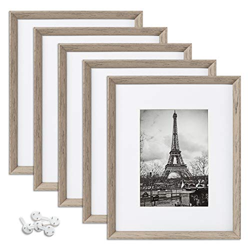 upsimples 8x10 Picture Frames with High Definition Glass,Rustic Photo Frames for Wall or Tabletop Display,Set of 5,Light Grey