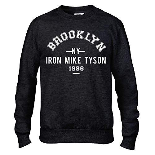 Générique Fer Mike Tyson Brooklyn Boxe Premium Homme Noir Sweat-Shirt Col Rond - Noir, Medium (38/40)