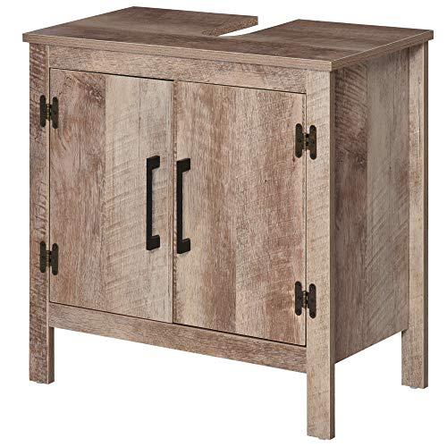 kleankin Wooden Under Sink Bathroom Floor Storage Cabinet with Double Door Space Saver Organizer, Barnwood