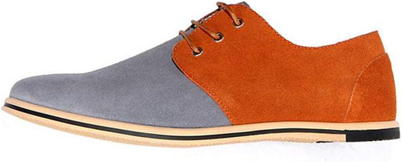 ZHRUI Men Oxford shoes Fashion Comfortable Mixed colors Flat Lace-up Solid Men Causal Footwear (color   Grey orange, Size   9=43 EU)
