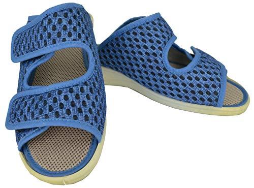 Zapatilla de señora Isasa Capri Azul, de Farmacia, Doble Velcro Abierta Fabricada en Rejilla MORBI Azul con Dos velcros para un Ajuste idoneo para pies delicados (Numeric_40)