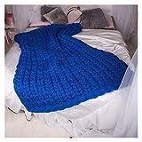 LICHUXIN Couverture tricotée à la main en laine vegan pour canapé, literie, décoration d'intérieur, cadeau (couleur : bleu roi, taille : 120 x 150 cm)
