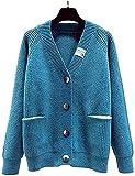 juew Otoño V cuello de punto Cardigan mujeres suelta bolsillo de un solo pecho de las mujeres suéter chaqueta de punto, azul, Talla única