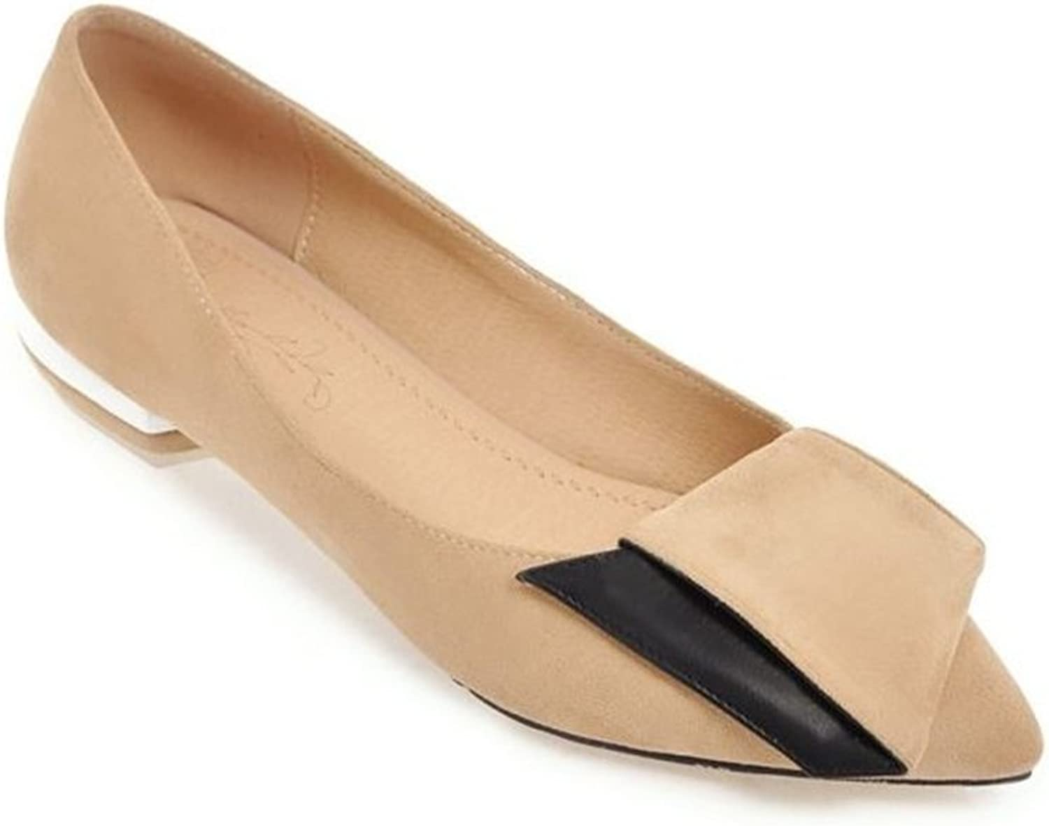Fancyww Women's Classic Pointy Toe Ballet Flat Comfort Soft Suede Ballerina Office shoes