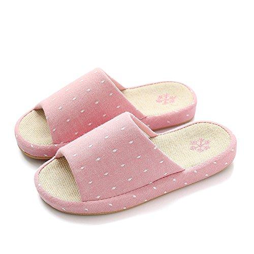 Confortable Enfants de Printemps d'été Enfants Chaussons de Sol en Bois Linge de Femme d'été Quatre Saison Chaussures de Lin Pantoustines en Coton Lin en Coton (Taille facultative) (6 Couleurs e