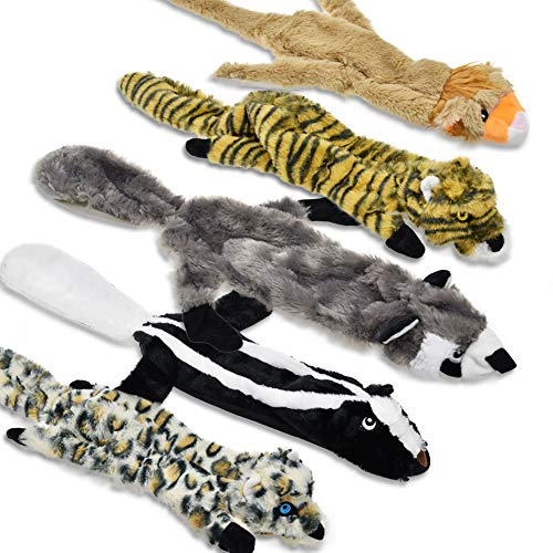 LECHONG Dog Squeaky Toys No Stuffing Plush Toys for Dogs, No Danger Dog Chew...