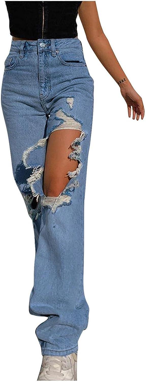 Larisalt Y2k Fashion Jeans for Women High Waisted Pants, Baggy Ripped Boyfriends Jeans Wide Leg Loose Denim Pants