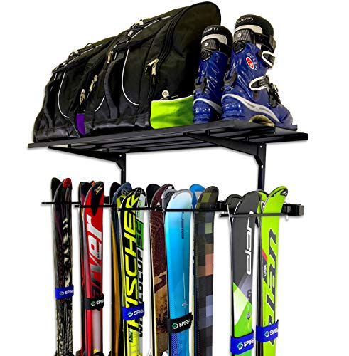 StoreYourBoard Ski Wall Rack and Storage Shelf, Holds 10 Pairs, Ski Wall Mount, Home and Garage Storage Hanger
