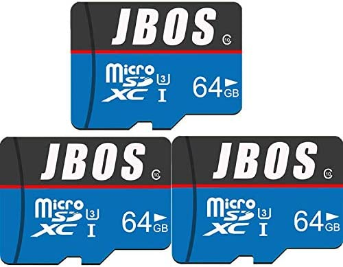 64GB Micro SD Card 3 Pack JBOS Micro SDXC Card 3pcs UHS-I Memory Card C10 U3 64 GB High Speed TF Card for Smartphone/Bluetooth Speaker/Tablet/PC/Drone/Camera