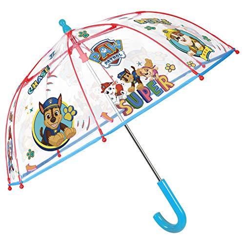 Paw Patrol Regenschirm Transparent Blau Rot - Durchsichtig Kinderschirm Marshall Chase Rubble Skye - Schirm Windfest Sturmsicher 3/6 Jahren - Kinder Sicherheitsöffnung - Durchmesser 64 cm - Perletti