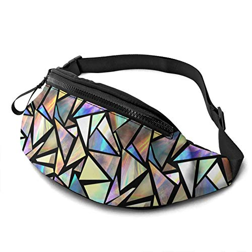 Iridescent Triangles Casual Fanny Waist Pack For Men Women Adjustable Belt Waist Bag For Traveling Hiking Cycling Running Festival Rave
