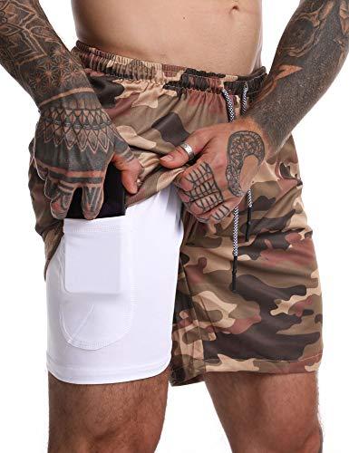 FLYFIREFLY - Pantalones cortos de entrenamiento 2 en 1 para hombre, 7 pulgadas, ligeros, para gimnasio, yoga, entrenamiento, deporte, pantalones cortos