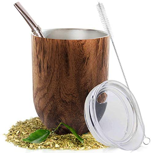Yerba Mate Natural Gourd Tea Cup Set Brown Traditional Mate Cup 12 Ounces I Includes Bombilla product image