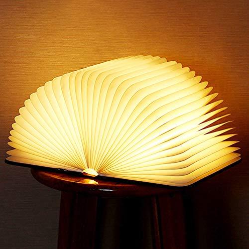 Lampada Libro Led Pieghevole in Legno 5 Colori RGB Wooden Book Lamp USB Ricaricabile Lampada Led a Forma di Libro Magnetico Notturna, Luci Booklight Decorazioni Casa,...