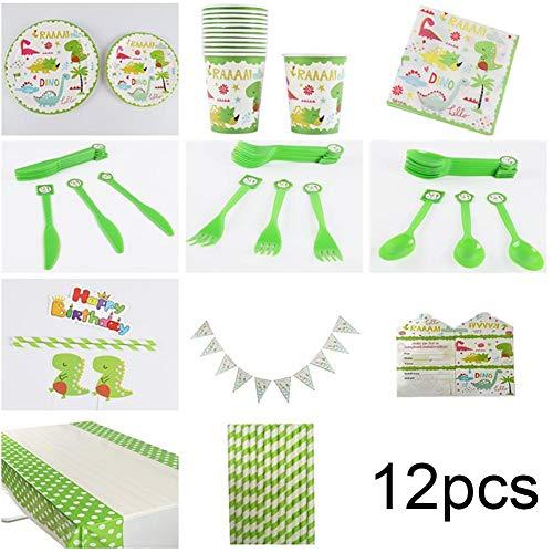 Servies set 12 stuks wegwerp kartonnen borden cartoon dierenvorm verjaardagstaart messen vorken voor thuis party groen MEERWEG verpakking