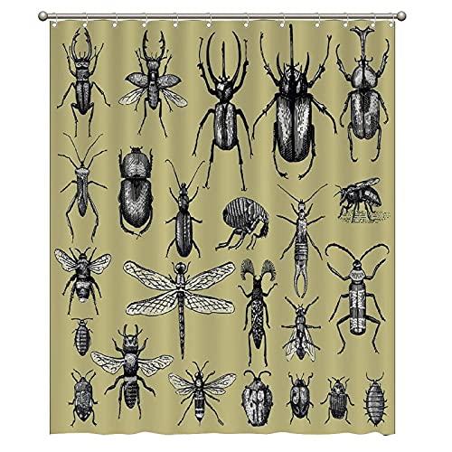 XXzhang Badezimmer Duschvorhang Liner, Große Insekten Käfer Käfer & Bienen Viele Arten 60x72 ZollFenster mit Metallhaken Set