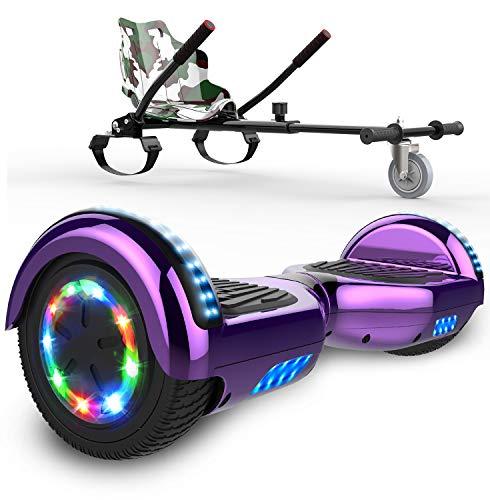 SOUTHERN WOLF Hoverboards Go Kart, Scooter eléctrico autoequilibrado, Luces LED de Rueda de Colores incorporadas y Bluetooth, hoverboards de Motor de 2x350 W, Apto para niños y Adolescentes.