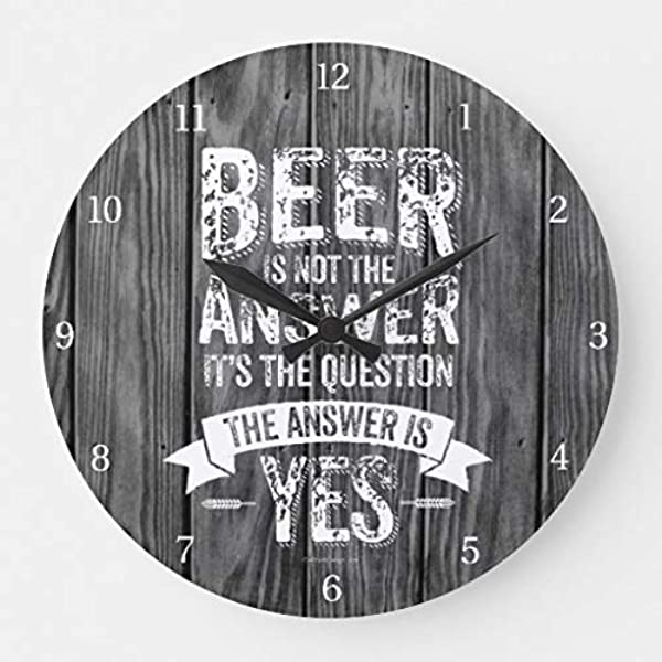 Moonluna Beer Is Not The Answer Wall Clocks Battery Operated Wooden Clock Decorations For Kitchen 10 Inches