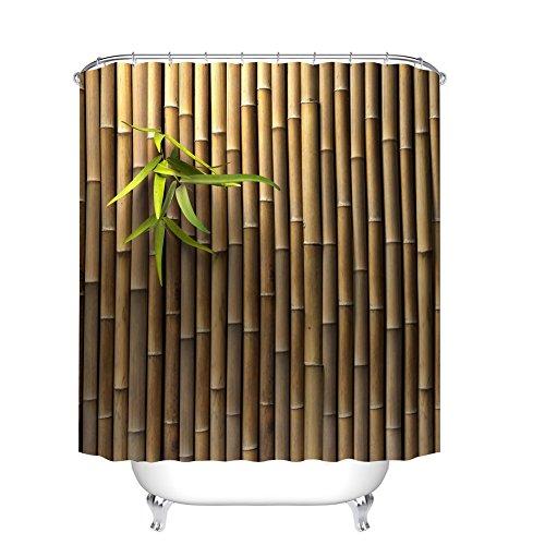 Fangkun Duschvorhang mit 3D-Druck aus Bambus – Polyester Badvorhänge Deko-Sets – 12 Duschvorhänge sind im Lieferumfang enthalten – 183 x 183 cm
