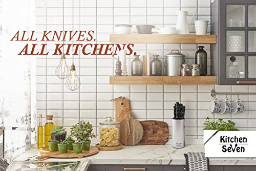 Kitchen Seven Universal Knife Block - Stainless Steel Kitchen Knife Holder(Without Knives)- Round Space-Saver Knife Storage Stand safely stores knives while keeping blades clean and sharp