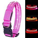 MELERIO Collar Luminoso Perro de Mascota, 3 Modos Collar Perro Luz con Recargable y Impermeable, Ajustable Collares LED para Perros Pequeños/Medianos/Grandes