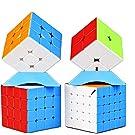 QiYi Magic Cube [2020最新] 魔方 3x3 競技用 立体パズル ポップ防止 対象年齢:6歳以上 (マルチカラー 4個)