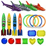 Noletgo Swimming Pool Diving Toys for Kids - Summer Fun Pool Sinking Toys Set,Underwater Variety Diving Training Gifts with Pool Torpedo,Diving Gems,Sharks,Swim Rings for Kids Pool Games 20 Pieces
