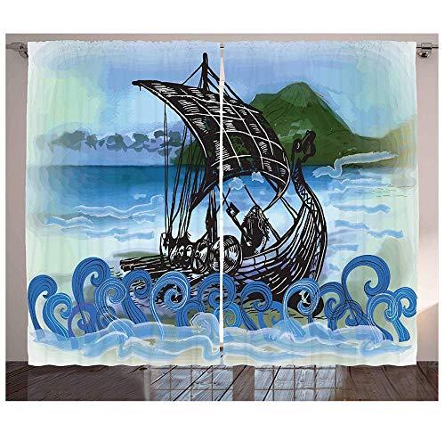 MUXIAND Nordic Gordijnen Drekar Boot Vikingen Schip Bearded Warrior met Bijl Draaide Zee Golven Artwork Woonkamer Slaapkamer Raam Decor