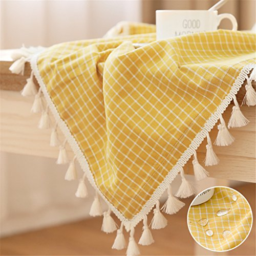 Yellow and White Checkered Tassel Tablecloth