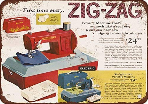 TGDB 1969 Zig-Zag Sewing Machine Vintage Look Reproduction Metal Tin Sign Size 8x12 inch