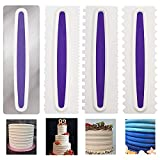 4Pcs Cake Scraper Smoother, Cake Decorating Comb, Stainless Steel...