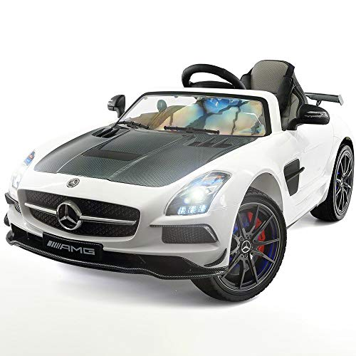 2020 Carbon Black SLS AMG Mercedes Benz Car for Kids, 12V Powered Kids Ride On...