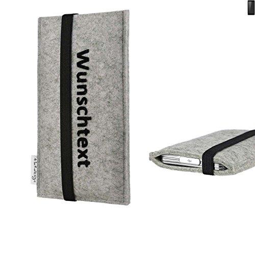 flat.design Handy Hülle Coimbra für Ruggear RG850 maßgeschneiderte Handytasche Filz Tasche Case schwarz grau