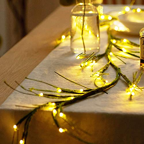 XIWU Mossy Branches Garland Tree String Lights 6FT 48 LEDs Battery Operated Lighted Twig Vine for Mantle Fireplace Easter Spring Halloween Party Spring Christmas Indoor Outdoor Use (Green Black)