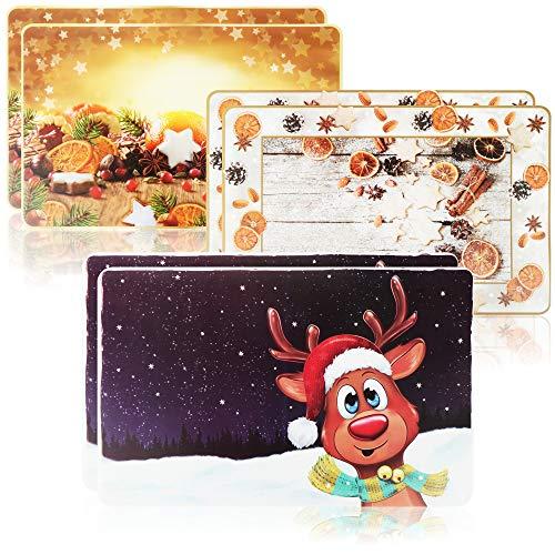 com-four® 6X tovagliette per Natale - tovaglietta per la Cucina - tovagliette con Motivi Diversi -...